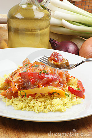Curry rice with sweet and sour chicken