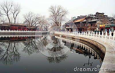 Curso do lago Beijing Shichahai, Beijing Foto de Stock Editorial