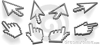 Cursor arrow hand pixel 3D cursors set
