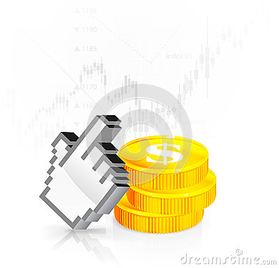 A cursor with the coins