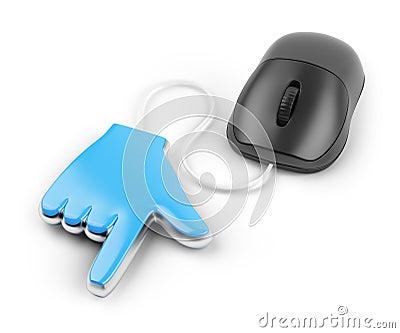 Cursor da mão e rato do computador
