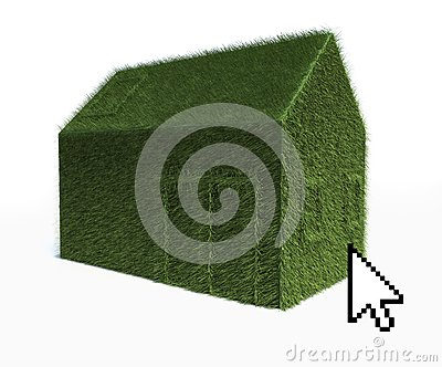 Cursor on Eco Green House isolated on white