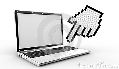 Cursor hand and laptop