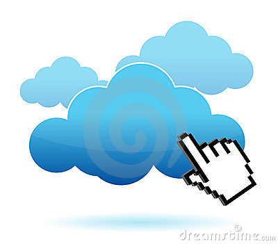 Cursor icon hand clicking on a cloud illustration