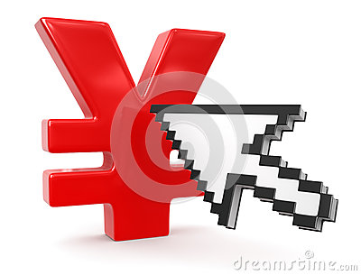 Cursor and Yen Sign (clipping path included)