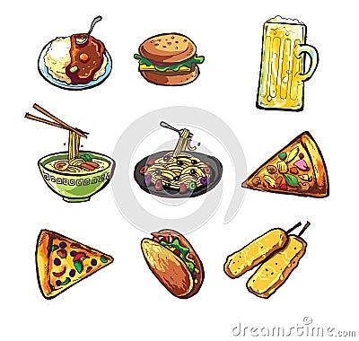 Curta el logotipo del taco de los tallarines de la pizza de las pastas de la cerveza de los alimentos de preparación rápida