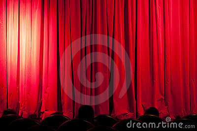 A curtain with spotlights