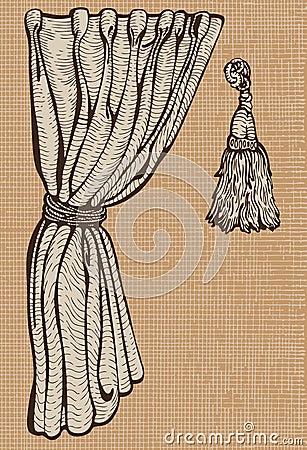 Curtain and tassel.