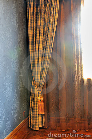 Curtain of window and morning light