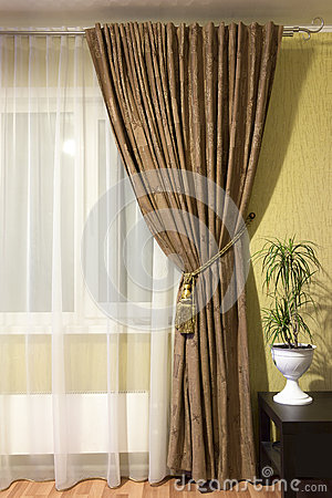 Free Curtains In The Living Room Royalty Free Stock Image - 66502306