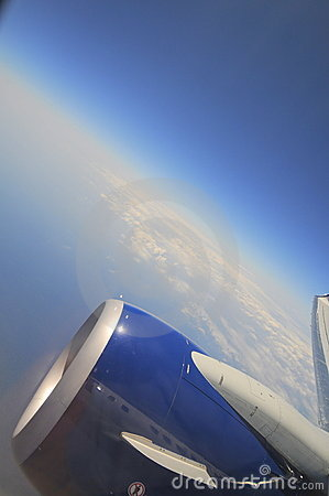 Curvature Of The Earth Airplane Window View Stock