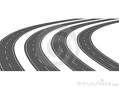 Curve asphalt road 05