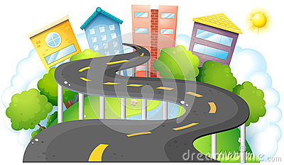 A curve road going to the city with high buildings