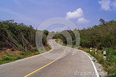Curve road with sky blue