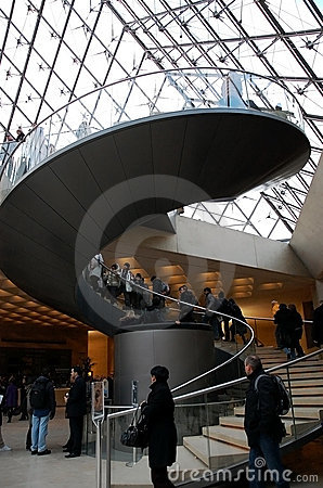 Curve stairway inside Louvre Editorial Photography