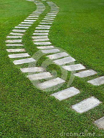 Curve way on grass
