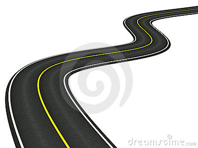 Curved asphalt road