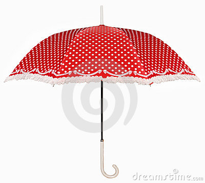 Curved handle red umbrella