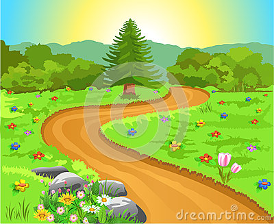 Curved path in natural landscape