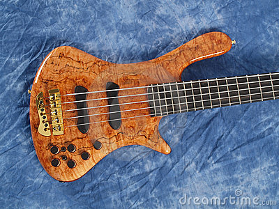 Curved patterned wood bass guitar body