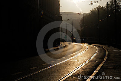 Curved road in the morning in Sarajevo