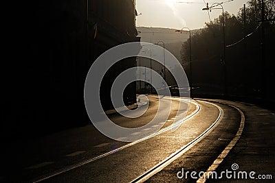 Curved road in the morning in Sarajevo