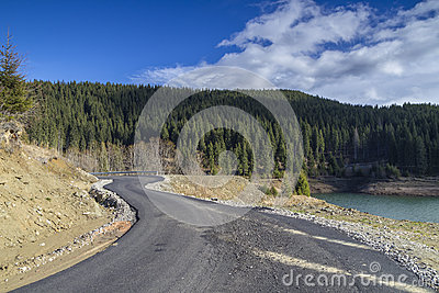 Curved road at mountain