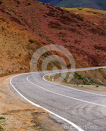 Altai: curved mountain road
