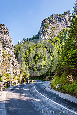 Curved road in the mountains