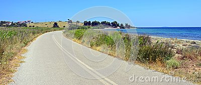 Curved road near sea