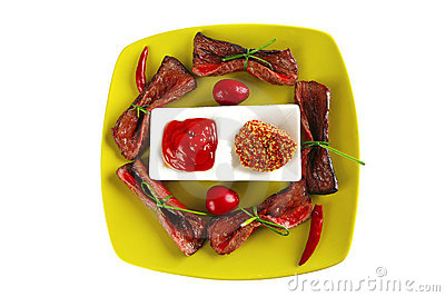 Curved slices of beef meat