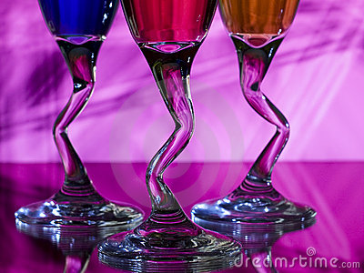Curved stems of wine glasses