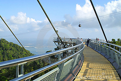 Curved suspension bridge on Langkawi island Editorial Stock Photo