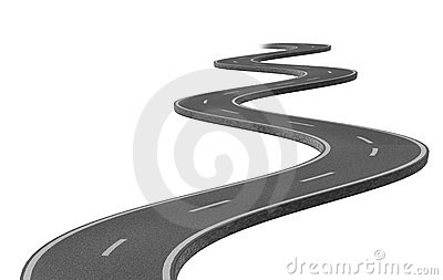 Curved winding asphalt road