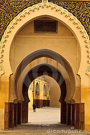 Free Curving Arches Into Mosque Courtyard In Fez Royalty Free Stock Photography - 22616147