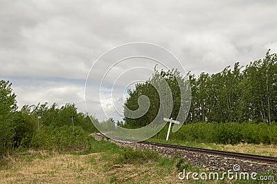 Curving railway track