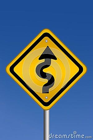Curvy road warning sign