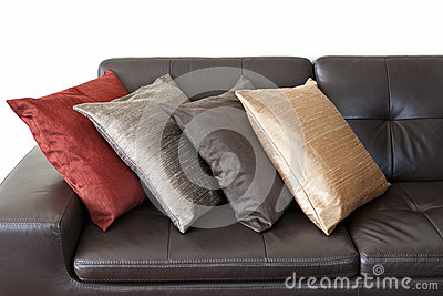 Cushions on leather sofa