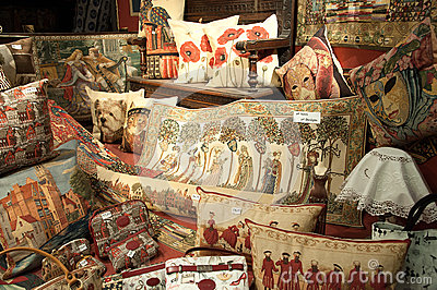 Cushions and tapestries Editorial Photo