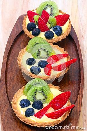 Custard tart with blueberries and kiwi