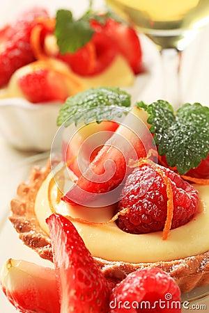 Free Custard Tart With Fruit Royalty Free Stock Photos - 19505448