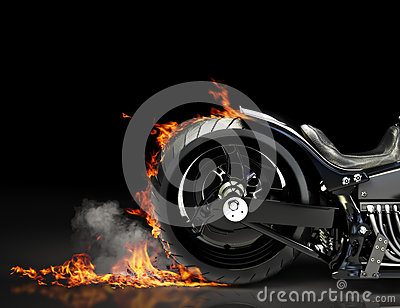 Custom black motorcycle burnout
