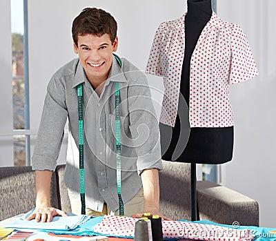 Custom tailor in studio