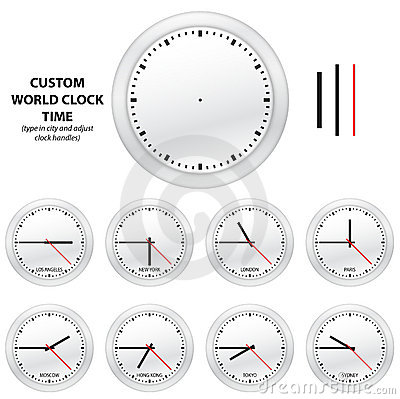 Custom world clock time - EDITABLE VECTOR EDITION