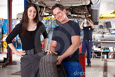 Customer with Mechanic and Tire