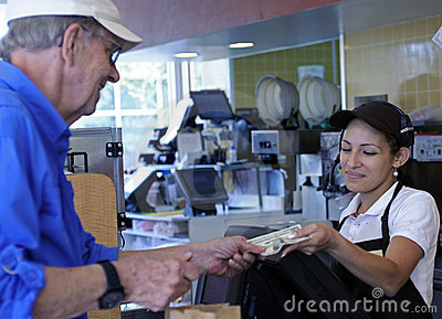 Customer pays cashier