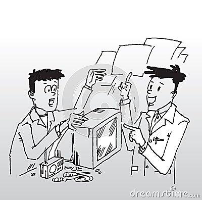 Customer in repair workshop