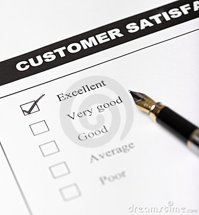 Customer satisfaction survey form - closeup