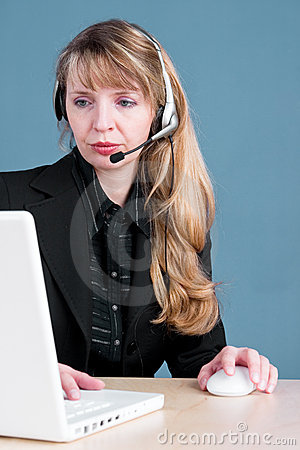 A customer service agent checks an order