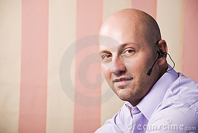 Customer service bald man